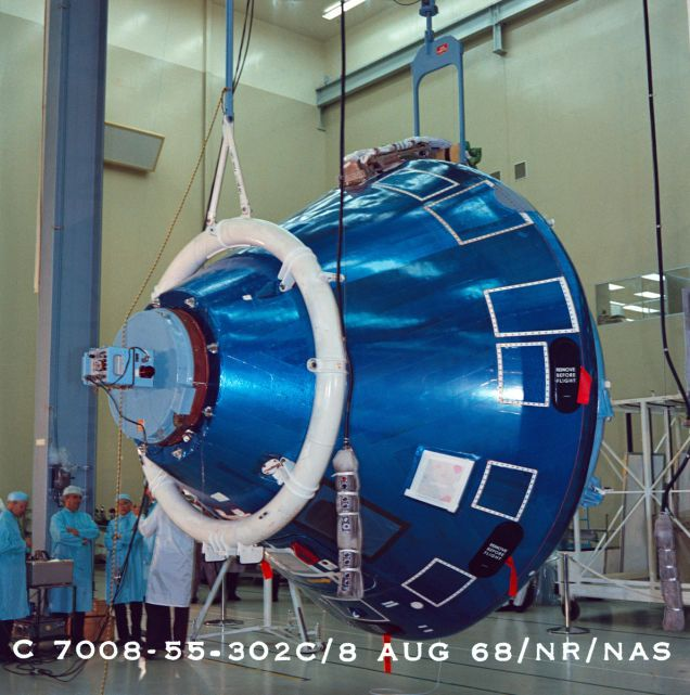 The final assembly stacking of Command Module at the North American plant, Tulsa, Oklahoma. Photo: NASA
