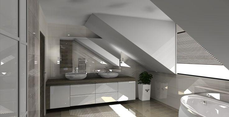 Łazienka na poddaszu w kolorze biało - brązowym, dwie umywalki, szafka pod umywalki