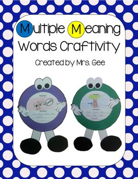 Make these adorable multiple meaning circles to reinforce multiple meaning words, homophones, or homographs.  Download contains examples, templates, and directions.Thanks!