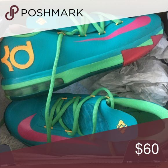 Nike KD basketball shoes Blue green pink Nike KD 6 Shoes Sneakers