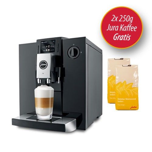 Jura IMPRESSA F9 Kaffeevollautomat Piano Black, Jetzt mit 2 Paketen Jura Kaffee Malaba Monsooned!