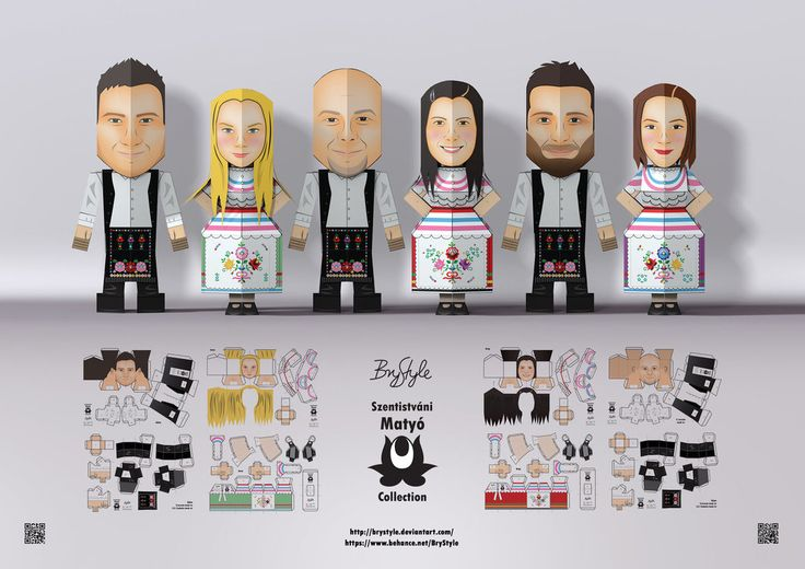 "Papertoy folk dancer characters with traditional costume of the Hungarian ""Matyó"" folk. Link to my other characters, stop-motion and original project: www.behance.net/gallery/262647… In ..."