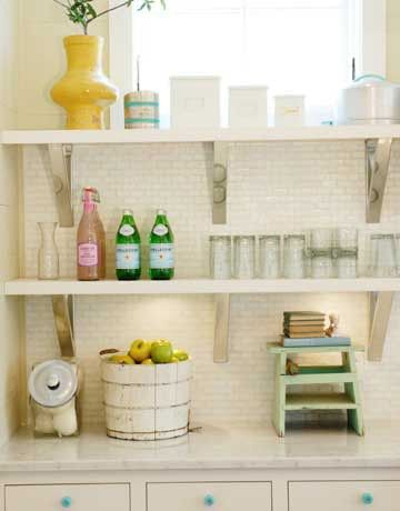 Open shelving & tiles in the scullery