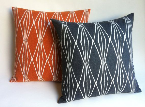 12 Sizes Available: Charcoal or Orange Diamonds Geometric Decorative Zipper Pillow Cover 20x20 22x22 24x24 14x26 Burnt Orange Cushion cover