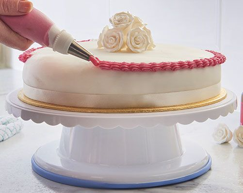Decorating Turntable £12 Makes decorating cakes easier. Turntable rotates to 360°. Includes non-slip base. Made from plastic