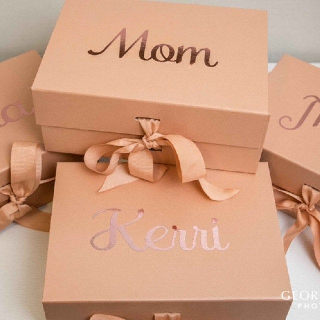 Personalised rose gold gift box with gold foil printed name wedding box bridesmaid birthday with ribbon