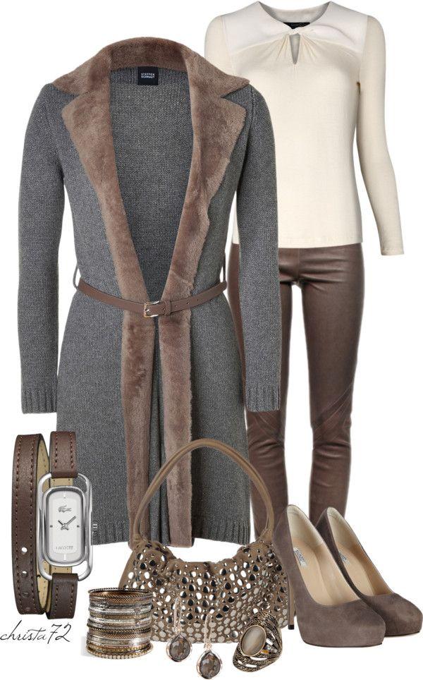 Fur trimmed-Long Cardigan and Leggings
