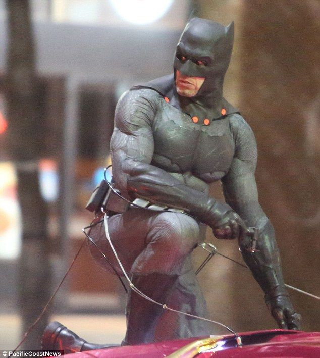 Iconic: Ben Affleck plays Batman in the new movie, but it was his stunt double in the thick of the action on Wednesday
