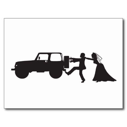 Runaway Groom Jeep Wedding Postcard