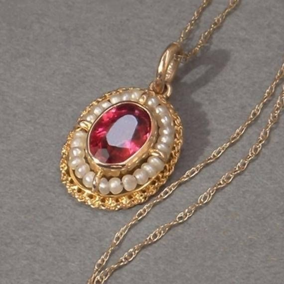 10K Solid Gold Victorian PENDANT Necklace RUBY Paste Seed
