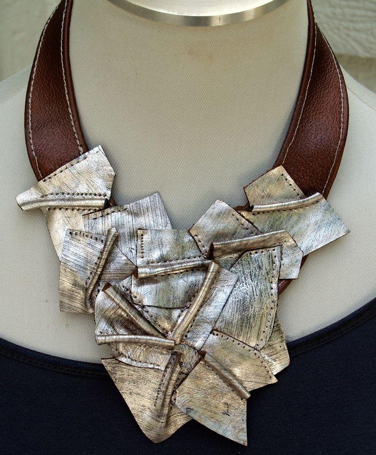 Metallic Silver and Metallic Copper Leather Bib