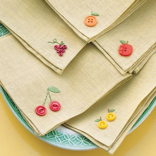 Adorable fruit napkins or place-mats. Would make a cute finishing touch on table linens.