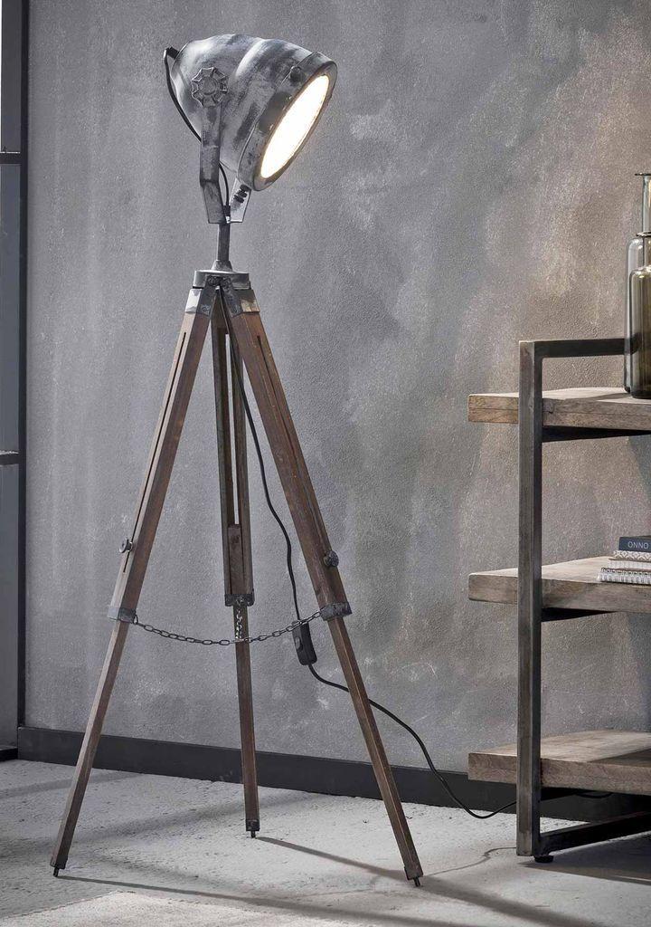 Tripod Stehleuchte Floris Industrial Style Vintage Grey Stehlampe Lampe Holzleuchte