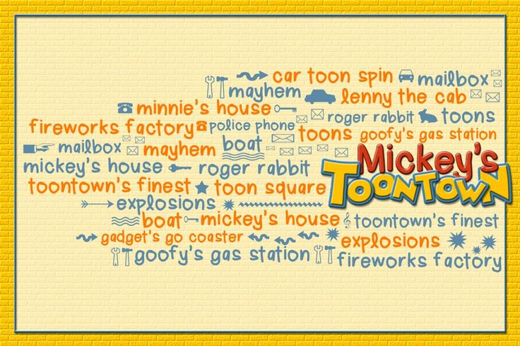 """Mickey's Toontown - Disneyland - Word Cloud - Title card - Project Life Filler Card - Scrapbooking ~~~~~~~~~ Size: 6x4"""" @ 300 dpi. This card is **Personal use only - NOT for sale/resale** Mickey's Toontown belongs to Disney. Fonts are Lera www.dafont.com/lera.font and Minnie www.dafont.com/minnie.font *** This card is only available in this 6x4"""" size ***"""