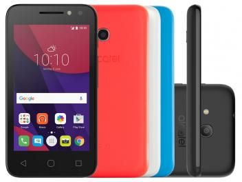 "Smartphone Alcatel PIXI4 4 Colors 8GB Dual Chip 3G - Câm 8MP + Selfie 5MP Flash Tela 4"" Proc. Quad Core"