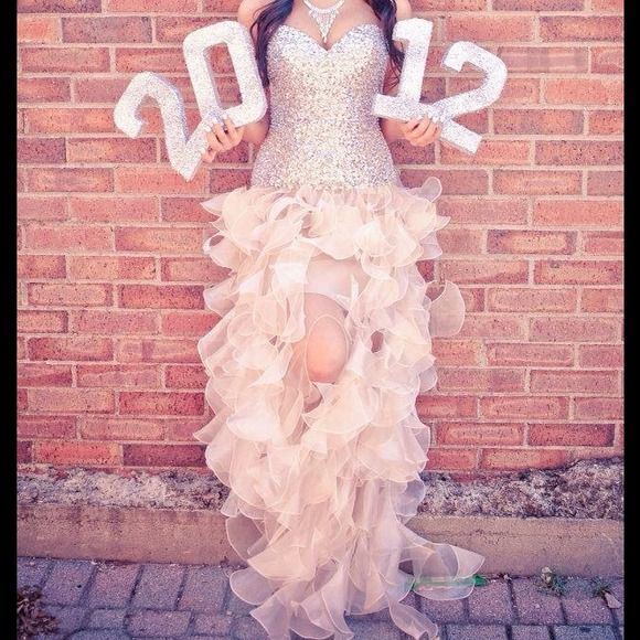 cute senior picture idea - take a photo of you in your prom dress while holding the glittered numbers of your graduation year!