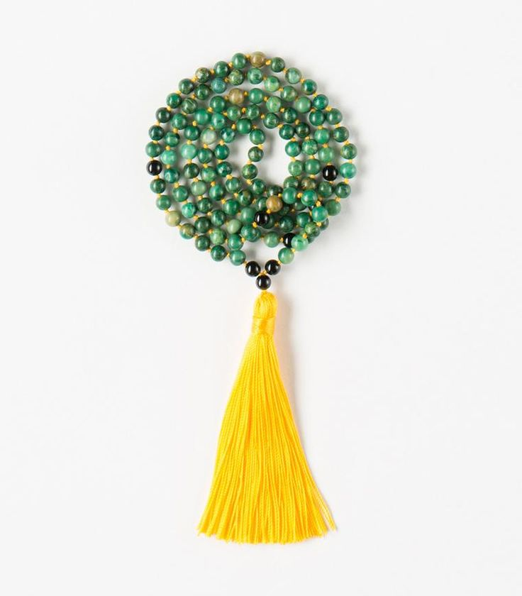 'I am Confident' Mala - 108 African Jade beads Tibetan Buddhist Mala with Black Onyx