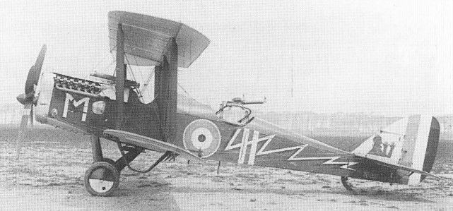 An Eagle VIII-powered D.H.4, N5997, of No 202 Squadron at Bergues in 1918, wearing highly individual markings. This example was of the first Westland-built batch for the RNAS, having been completed before the decision was taken to raise the observer s gun ring. Note the forward Vickers guns.