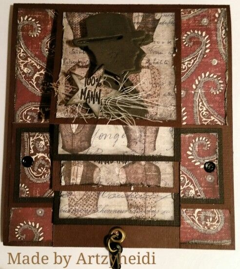 """Waterfallcard. A real Man card. Paper from Fab scrap, """" man on time"""""""