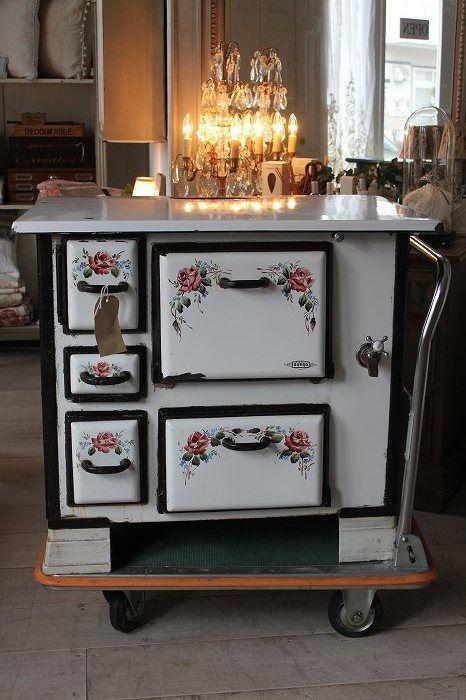 Estufa de le a horno de gama de esmalte antigua british - Cocinas economicas de lena precios ...