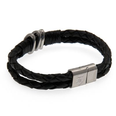 ARSENAL FC Leather Bracelet with Stainless Steel Clasp. Approx 21cm. In Gift Box. Official Licensed Arsenal leather bracelet. FREE DELIVERY ON ALL OF OUR GIFTS