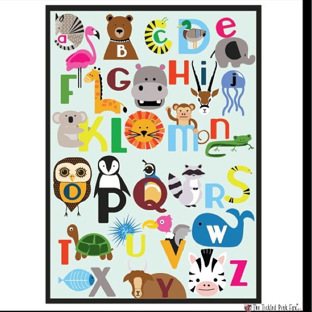 New downloadable print on our store! If you want it already printed poster size pls DM me!Wish I had this growing up! I'm such a picture person when it comes to learning! #etsy #art #shop #poster #print #animal #abc #alphabet #baby #nursery #learn #education #teacher #colors #tickledpinkfox #whale #flamingo #woodlands