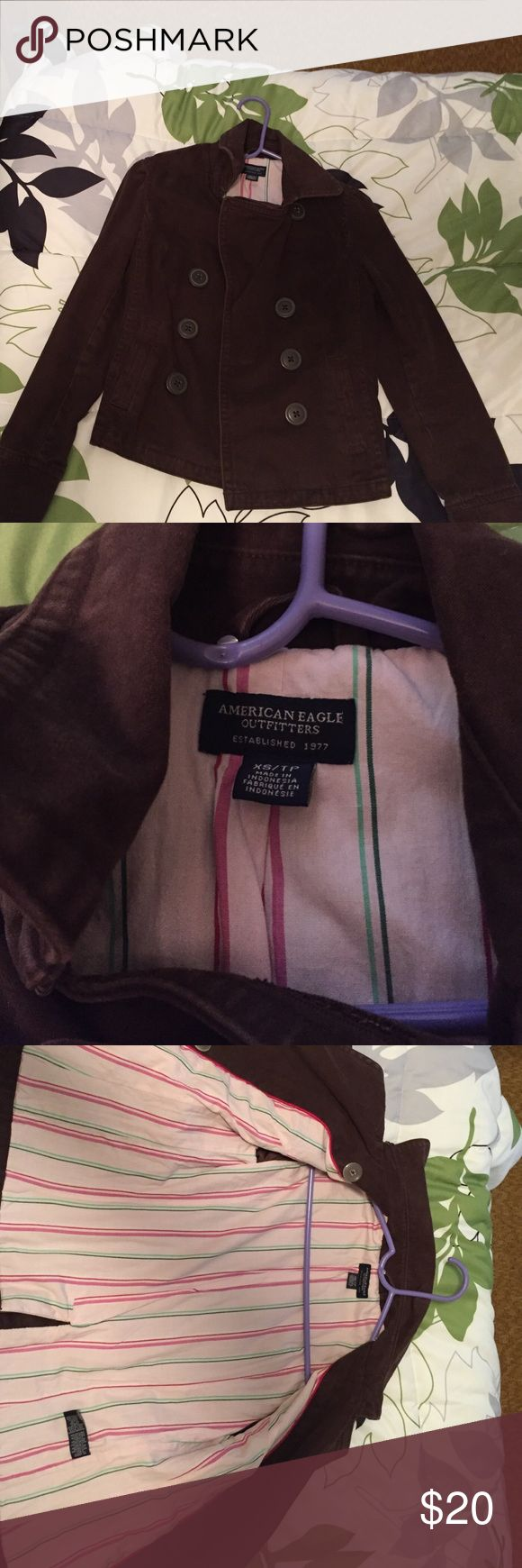 NWOT American Eagle Jacket. Cute American Eagle jacket. Worn once or twice. 100% cotton outside and inside. Offers welcome. American Eagle Outfitters Jackets & Coats Pea Coats
