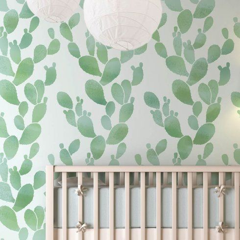 The Prickly Pear Cactus wall stencil makes achieving Southwestern wallpaper decor super easy.  Stenciling a cactus pattern on an accent wall. Via Cutting Edge Stencils. http://www.cuttingedgestencils.com/prickly-pear-wall-stencils-cactus-wallpaper-stencil-design.html