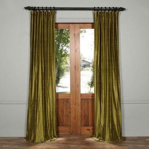 Exclusive Fabrics & Furnishings Paradise Green 84 X 50 Inch Textured Dupioni Silk Curtain Dis Id1618 84