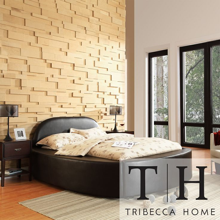 TRIBECCA HOME Dorchester Black Bonded Leather Modern King-size Bed   Overstock.com Shopping - The Best Deals on Beds