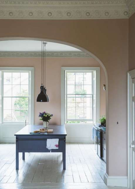 Dead Salmon is a gentle buff shade from Farrow & Ball. Pretty and elegant with fresh shades of white. Dining room.