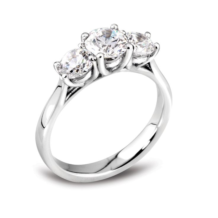 Round brilliant diamond 3 stone ring with claw settings mounted in platinum