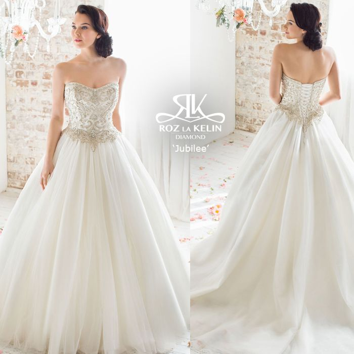 Jubilee l Roz la Kelin Diamond Collection   Strapless ball gown, beaded bodice, fairytale wedding, elegant embroidery