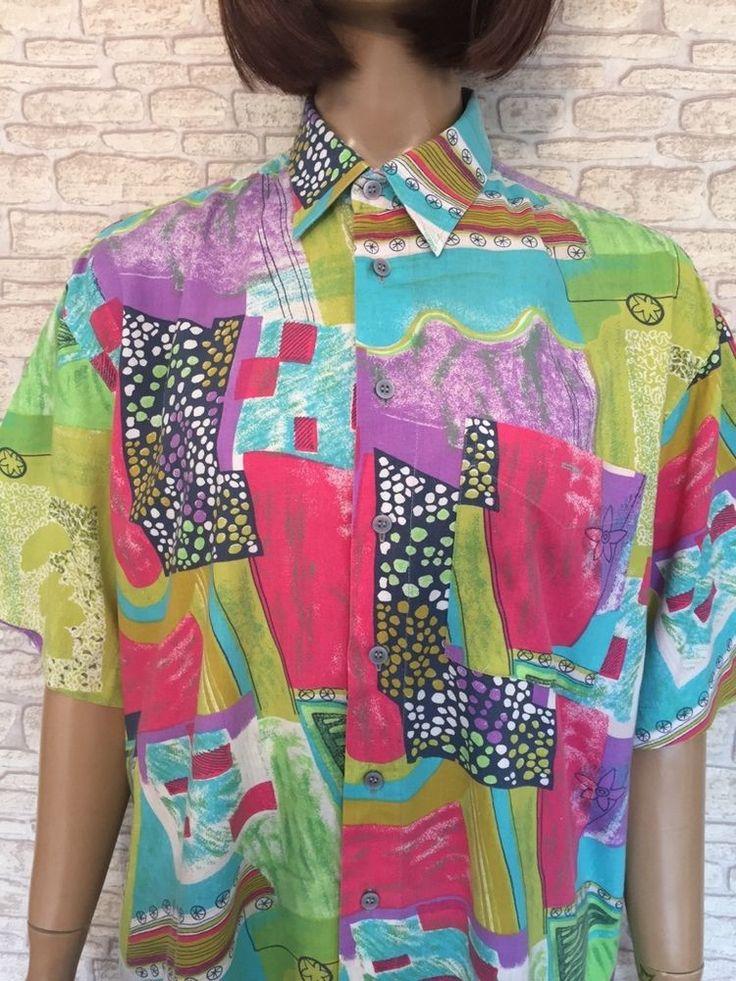 VINTAGE UNISEX MENS 90s Bright Neon Fresh Prince Hip Hop Festival Shirt Blogger  #Unbranded #Shirt