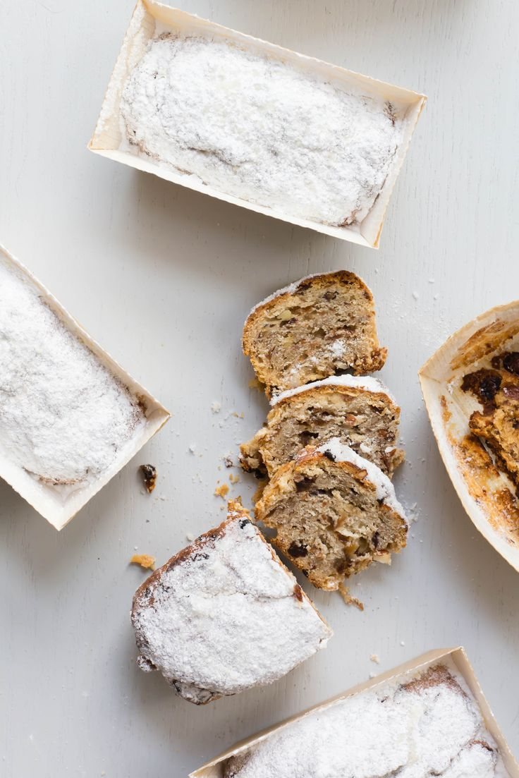 Stollen is a classic German Christmas cake. It is made with enriched dough and filled with delicious mixed dried fruit.