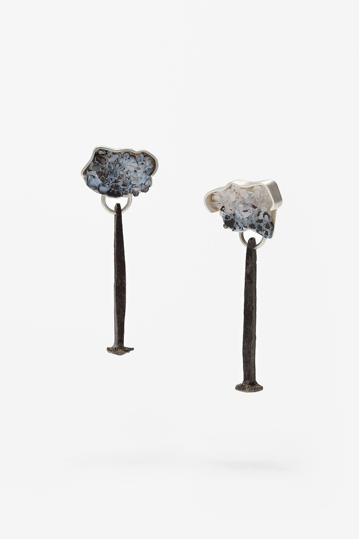 Susan Ewington - 'small snow' earrings, sterling silver, glass, steel nails (jewelry with nails)