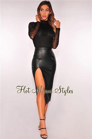 Black Diamond Stitched Long Sleeves Bodysuit Womens clothing clothes hot miami styles hotmiamistyles hotmiamistyles.com sexy club wear evening  clubwear cocktail party kim kardashian dresses