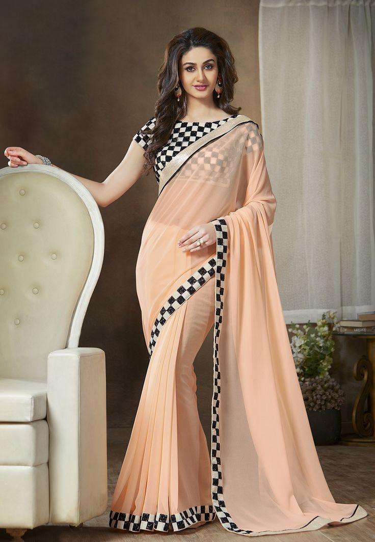 Light Peach Faux Georgette #Saree with Blouse