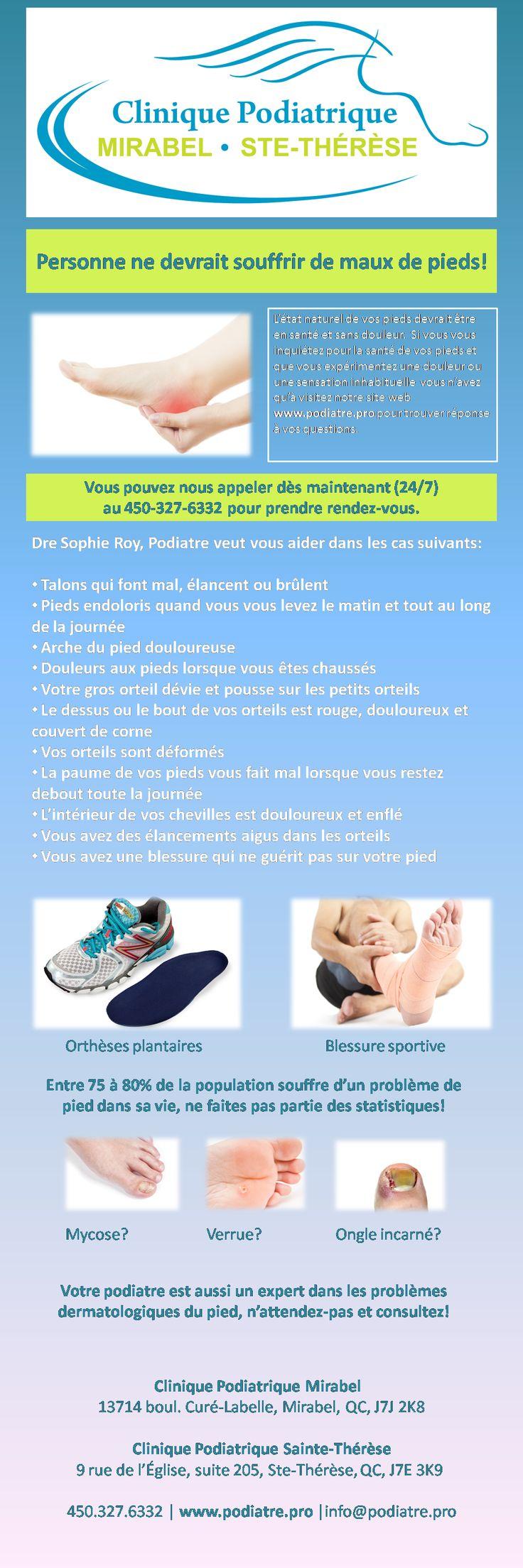 Vous souffrez de: Talons qui font mal, élancent ou brûlent, Pieds endoloris quand vous vous levez le matin et tout au long de la journée, Arche du pied douloureuse, Douleurs aux pieds lorsque vous êtes chaussés, Votre gros orteil dévie et pousse sur les petits orteils, Le dessus ou le bout de vos orteils est rouge, douloureux et couvert de corne, Vos orteils sont déformés, La paume de vos pieds vous fait mal lorsque vous restez debout toute la journée  Appelez-nous dès maintenant…