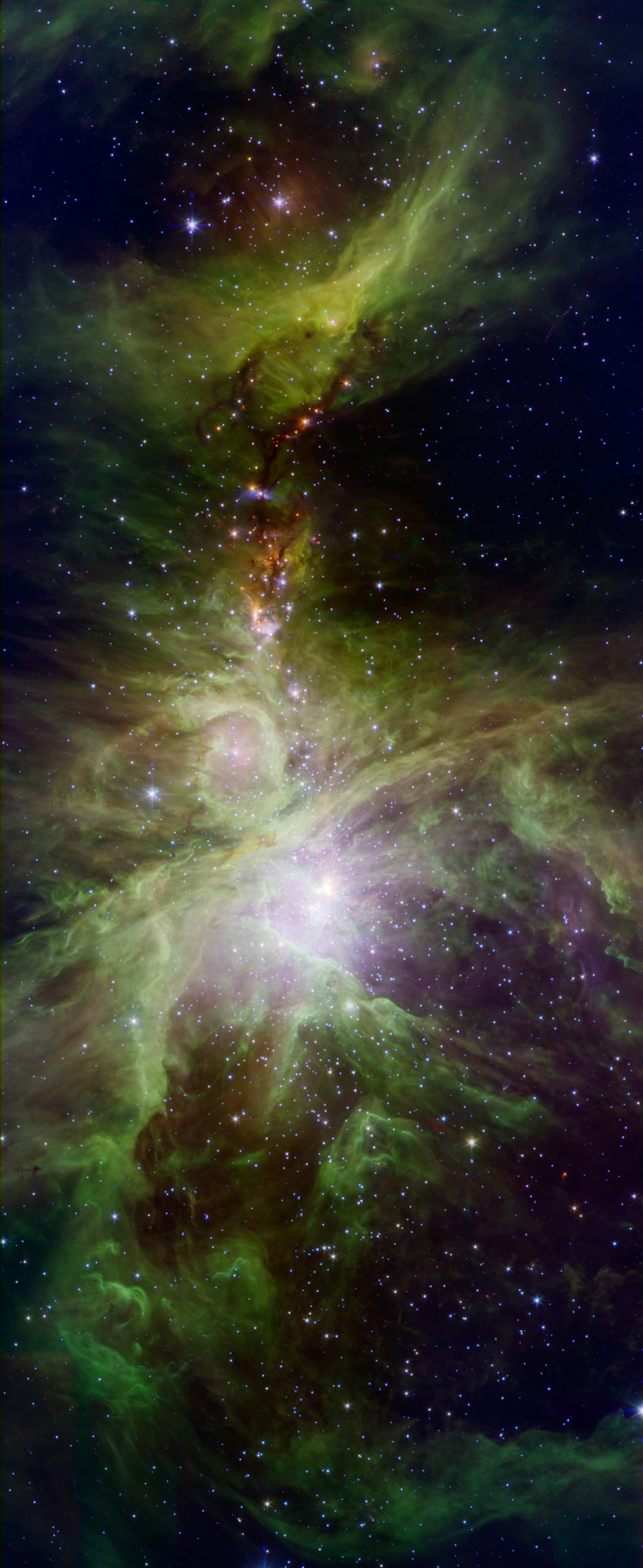 This picture from NASA's Spitzer Space Telescope. The image shows the Orion nebula, a happening place where stars are born. The young stars dip and peak in brightness due to a variety of reasons. Shifting cold and hot spots on the stars' surfaces cause brightness levels to change, in addition to surrounding disks of lumpy planet-forming material, which can obstruct starlight. Spitzer is keeping tabs on the young stars, providing data on their changing ways.