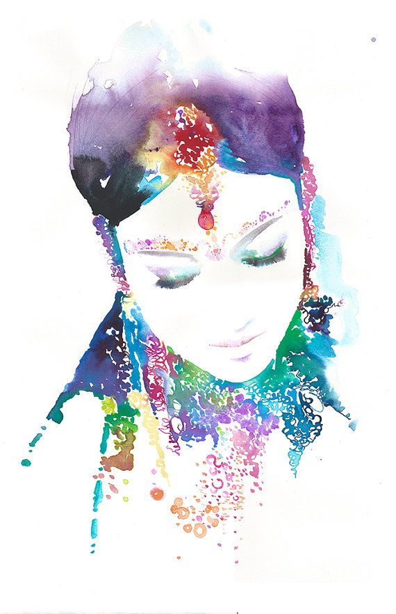 Limited Edition Print of Original Watercolor Painting, Indian Watercolor Portrait  Titled - Cobalt on Etsy, $150.00