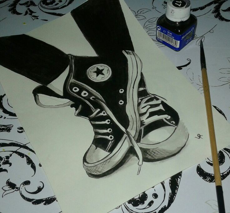 Draw Chinese ink shoes converse