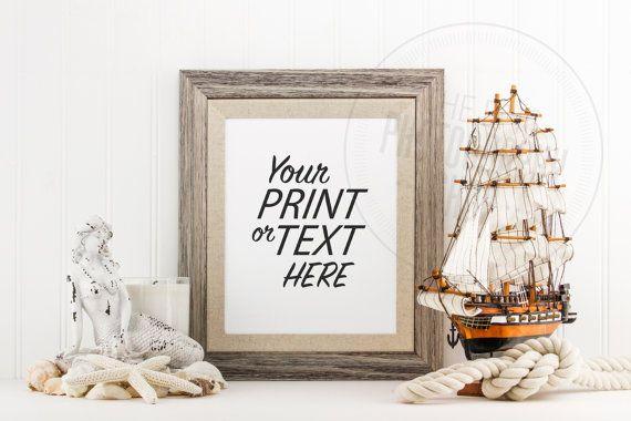 Styled Stock Photography / Beach, Seashells, Ocean, Mermaid, Rope, Sail Boat, Sea Ship, Nautical / Blank Frame / Empty Frame / BN010