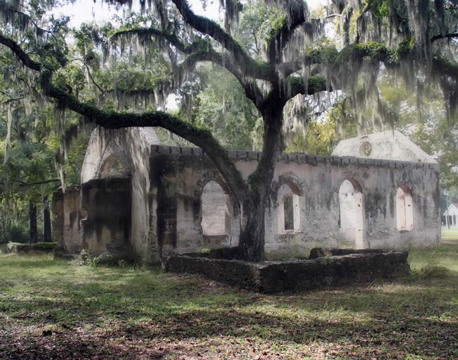 Chapel of Ease, St. Helena Is.,  south carolina..beautiful, yet totally haunted. I've been there many times - creepy.