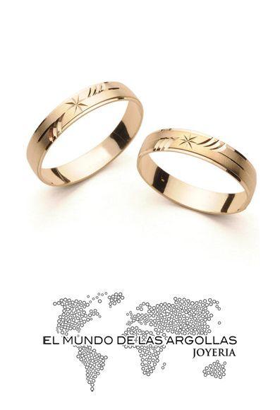 Modelo: A-A00454H Argolla oro amarillo 14k hueco diamantado 4mm #ArgollasDeMatrimonio