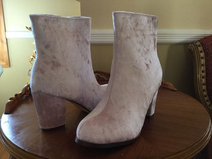 Women's CRUSHED VELVET BOOTIE ANKLE BOOT Blush Pink 7M NIB #ChaseChloe #FashionAnkle