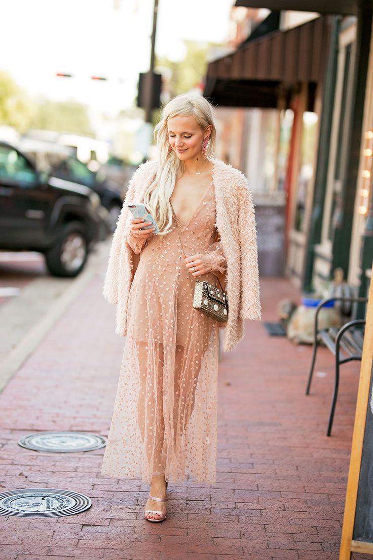 sheer long sleeve maxi dress.