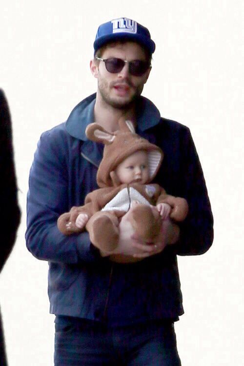 Stop it, Jamie Dornan with your ridiculously cute baby dressed up like a tiny animal.