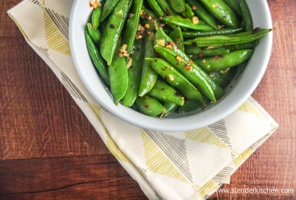 ! Sesame Sugar Snap Peas with garlic, red pepper flakes, and sesame ...
