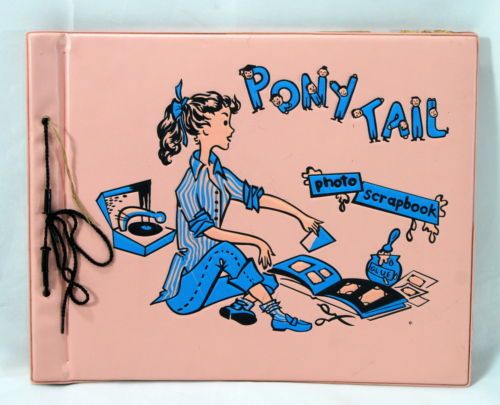 Vintage Scrap Book 50's Pink Girl Pony Tail Record Player Bobby Socks Embossed